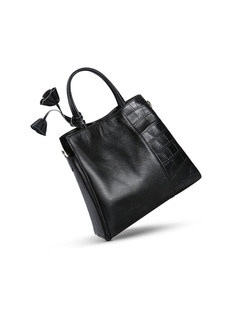 Brief Pure Color Handbag With Decoration