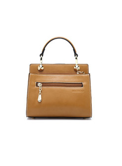 Stylish PU Clasp Lock Solid Color Crossbody Bag