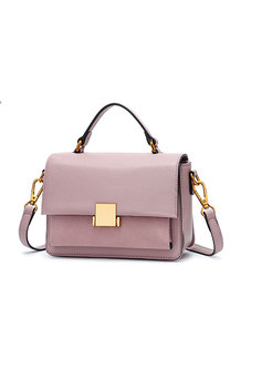Stylish Casual Pure Color Clasp Lock Top Handle & Crossbody Bag