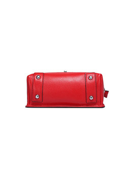Brief Solid Color Lock Leather Crossbody Bag