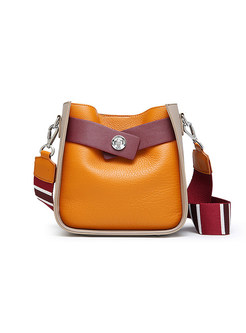 Chic Color-blocked Wide Shoulder Strap Crossbody Bag