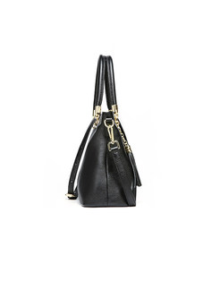 Solid Color Tassel Leather Handbag & Crossbody Bag