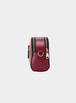 Brief Pure Color Zippered Crossbody Bag With Metal