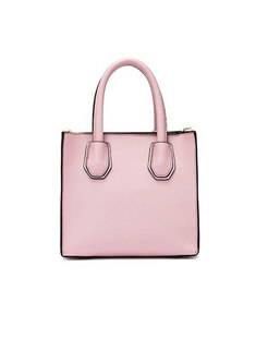 Brief Pure Color Top Handle Bag With Tied Tassel