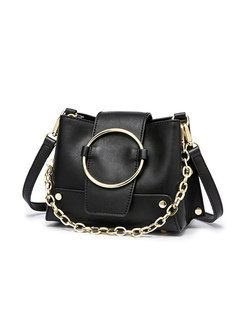 Fashion Black Circle Detail Crossbody Bag With Rivet