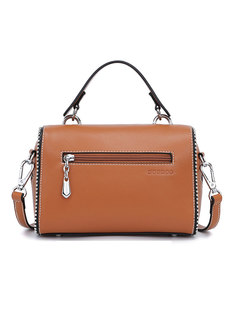 Autumn PU Color-blocked Zipper Top Handle Bag