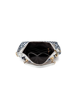 Casual Denim Drilled Shoulder Bag & Top Handle