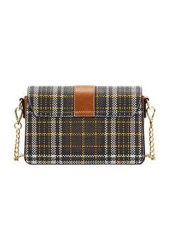 PU Brief Magnetic Lock Square Chain Crossbody Bag