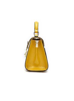 Fashion Yellow Wide Strap Push Lock Top Handle & Crossbody Bag