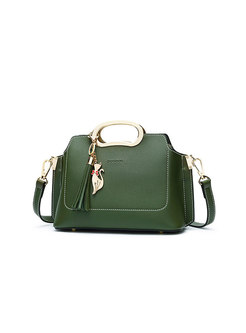 Stylish Green Zipper Pocket Handle & Crossbody Bag With Fringed