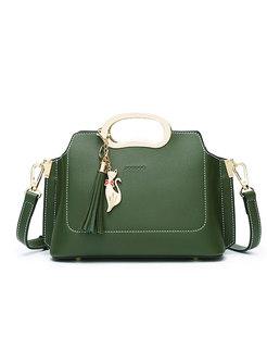 Stylish Green Zipper Pocket Handle & Crossbody Bag With Fringed