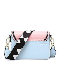 Chic Color-blocked Clasp Lock Wide Strap Crossbody Bag