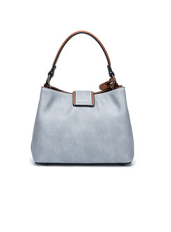 Retro Color-blocked Frosted Tote & Crossbody Bag