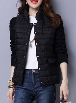 Fashion Standing Collar Knitted Splicing Coat