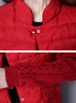 Red Single-breasted Long Sleeve Slim Short Coat