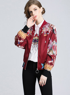 Chic O-neck Long Sleeve Print Casual Coat