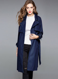Stylish Denim Turn Down Collar Belted Trench Coat