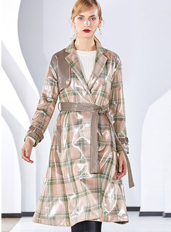 Lapel Plaid Tie-waist Long Sleeve Overcoat