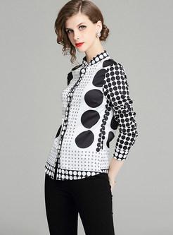 Standing Collar Long Sleeve Polka Dot Print Blouse