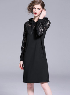 Solid Color Hooded Long Sleeve Beaded Slim Dress