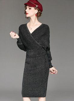 Stylish V-neck Long Sleeve Sweater & High Waist Sheath Skirt