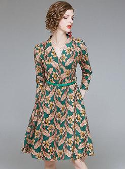 Stylish Print V-neck Belted Skater Dress