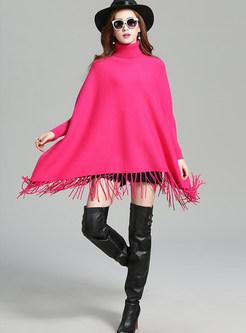 Stylish High Neck Bat Sleeve Cloak Sweater