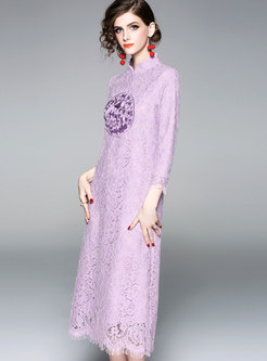 Purple Lace Stitching Mandarin Collar Long Sleeve Dress