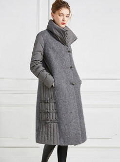Stand Collar Single-breasted Splicing Down Coat