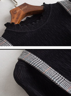 Casual Ruffled Collar Slim Sweater & Grid High Waist Overalls