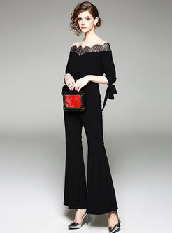 Chic Lace Splicing Slash Neck Belted Flare Jumpsuit