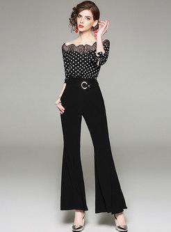 41023cc48b9d Polka Dot Slash Neck Bowknot Belted Jumpsuit
