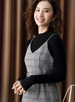 Black Long Sleeve Slim Sweater & Strap Plaid Sling Dress