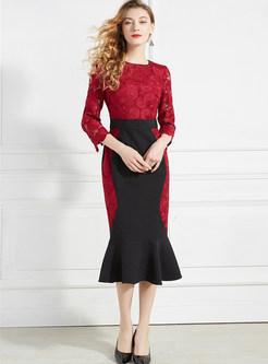 Color-blocked Slim Splicing Mermaid Dress