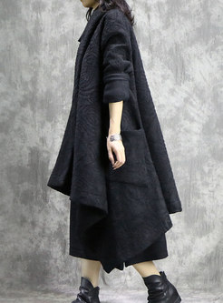 Winter Vintage Long Sleeve Thicken Asymmetric Cardigan