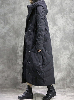 Trendy Winter Hooded Embroidered Vintage Down Coat