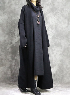 Fashion Solid Color Turn-down Collar Wool Cardigan