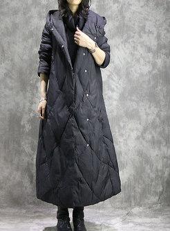 Winter Monochrome Hooded Long Down Coat