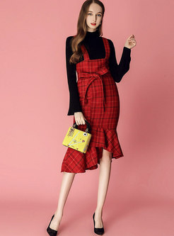 Black Flare Sleeve Slim Sweater & Plaid Sheath Falbala Slip Dress
