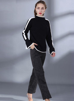 Elegant Color-blocked Flare Sleeve Bowknot Sweater & Straight Pants