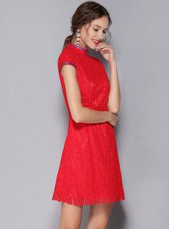 Stylish Red Mandarin Collar Short Sleeve Lace Dress