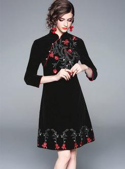 Vintage Black Mandarin Collar Embroidered Skater Dress