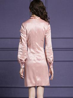 Pink Mandarin Collar Lantern Sleeve Sequin A Line Dress