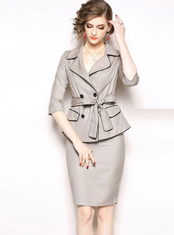 Work Notched Three Quarters Sleeve Two Piece Outfits
