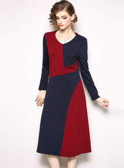 Color-blocked O-neck Long Sleeve A Line Dress