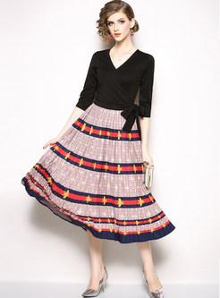 V-neck Bowknot Splicing Print A Line Dress