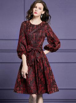 Lantern Sleeve Lace Blouson Floral Gathered Waist Dress