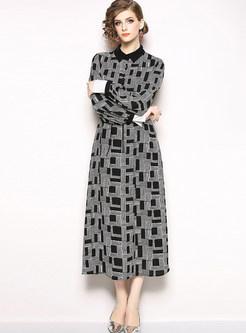 Color-blocked Lapel Geometric Pattern Maxi Dress