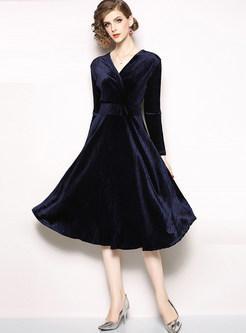 Brief Solid Color V-neck High Waist A Line Dress