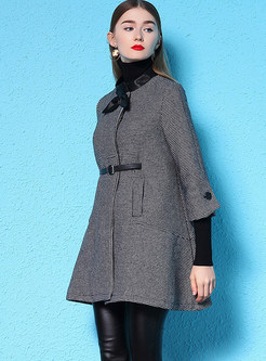 Fashion O-neck Tied Houndstooth Cloak Woolen Coat